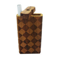 "Wood One Hitter Box with Laser Etched Checkerboard Theme and FREE 3"" Reusable Aluminum Cigarette"