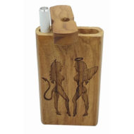 "Wood Laser Etched Hitter Box and FREE 3"" Reusable Aluminum Cigarette Angel & Devil Girls Theme"